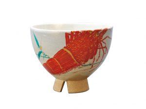 楽山焼海老茶碗